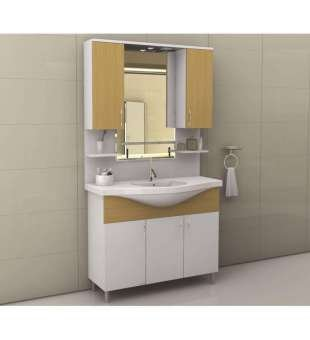 Ekonomik Banyo Dolabı, 105cm Çift Üst Kapaklı Banyo Dolabı
