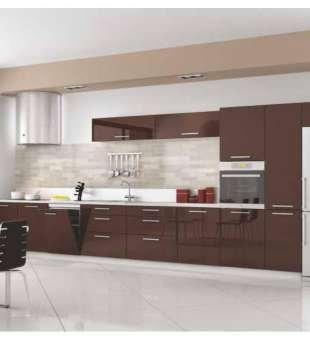 Akrilik Mutfak Dolabı, Kahverengi Akrilik Kapaklı Mutfak Dolabı