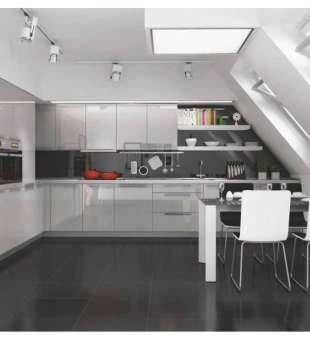 Akrilik Mutfak Dolabı, Metalik Gri Akrilik Kapaklı Mutfak Dolabı