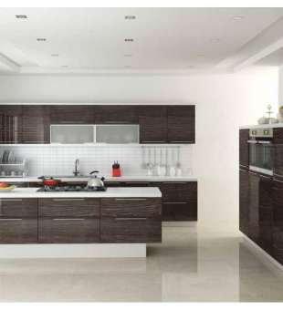 Akrilik Mutfak Dolabı, Metalik Karaağaç Akrilik Mutfak Dolabı
