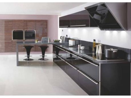 Metalik Siyah Akrilik Mutfak Dolabı