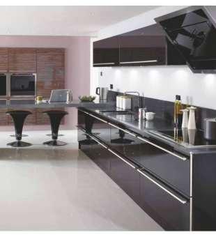Akrilik Mutfak Dolabı, Metalik Siyah Akrilik Mutfak Dolabı