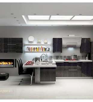 Akrilik Mutfak Dolabı, Siyah Yağmur Desenli Akrilik Mutfak Dolabı
